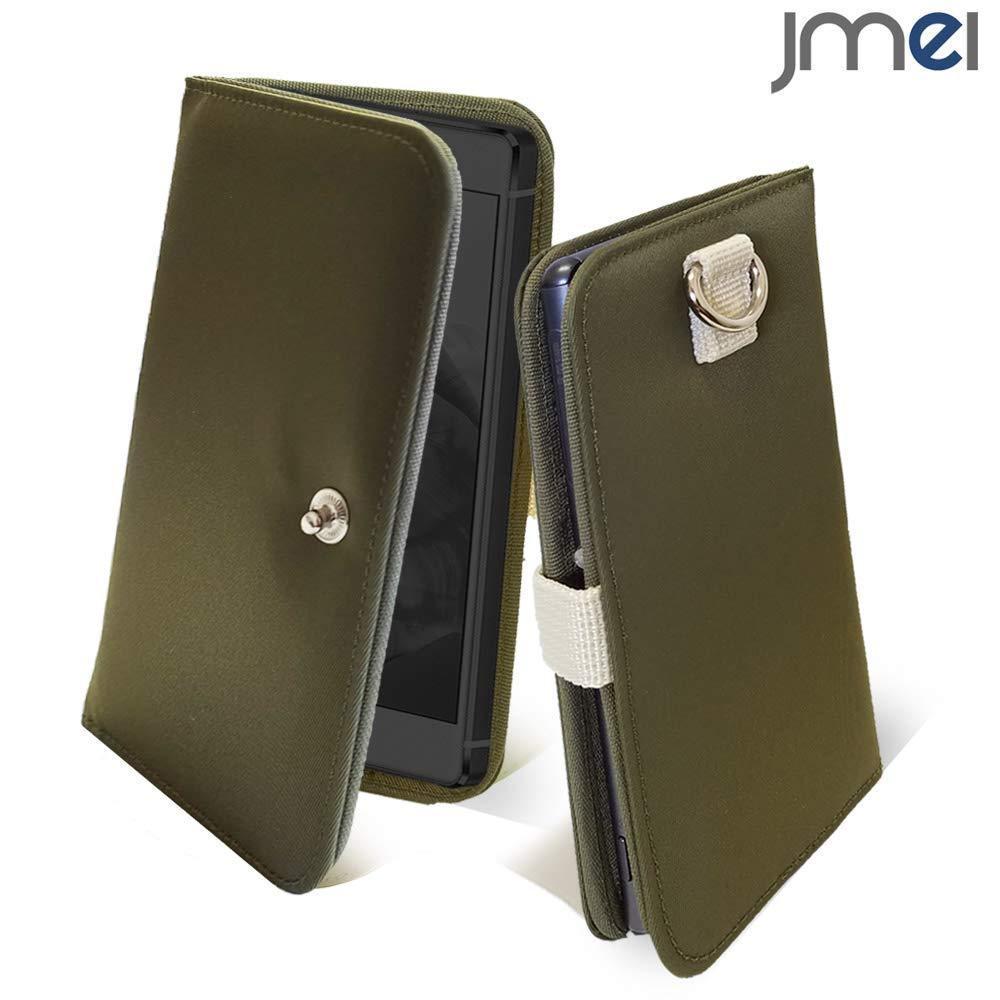 docomo Galaxy A21ケース SIMフリー カバー(カーキ)MA-1 手帳型 カード収納付 SC-42A ドコモ ナイロン スマホケース 防水 防塵 003_画像1