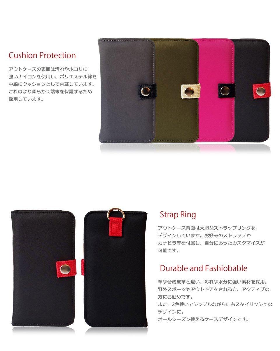 docomo Galaxy A21ケース SIMフリー カバー(カーキ)MA-1 手帳型 カード収納付 SC-42A ドコモ ナイロン スマホケース 防水 防塵 003_画像3