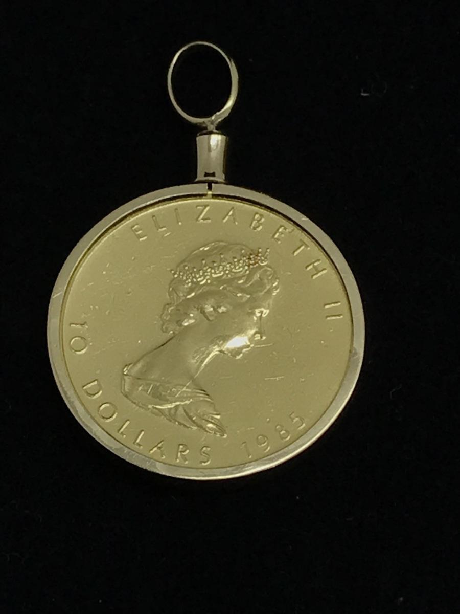 中古美品 カナダ メープル 10ドルコイン 1/4oz エリザベスⅡ 1985年 K24 金貨 ペンダント K18枠 総重量 約8.7g 質屋出品 金投資
