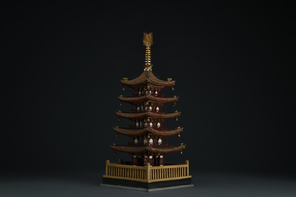 ◆鶴鳴堂◆ 明治金工 木彫彩絵 東大寺 五重塔 超絶技巧 重要文化財 寺寶 細密毛彫 博物館