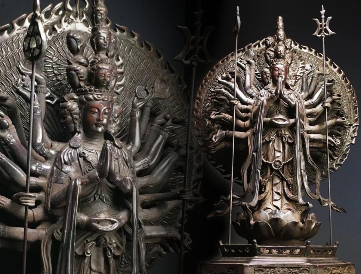 ◆鶴鳴堂◆ 中国・明時代 紫銅製 千手観音像像 金水厚重 超絶技巧 重要文化財 寺寶 細密