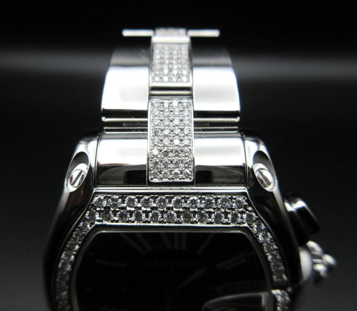 Cartier カルティエ ロードスター クロノグラフ LM ベゼルアフターダイヤ加工します カスタム W62041V3 SS 019X6 007 020 取付 サントス S_画像4