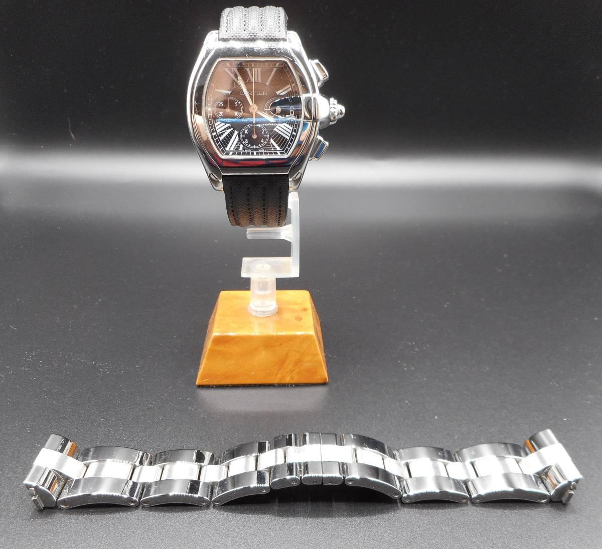 Cartier カルティエ ロードスター クロノグラフ LM ベゼルアフターダイヤ加工します カスタム W62041V3 SS 019X6 007 020 取付 サントス S_ビフォー