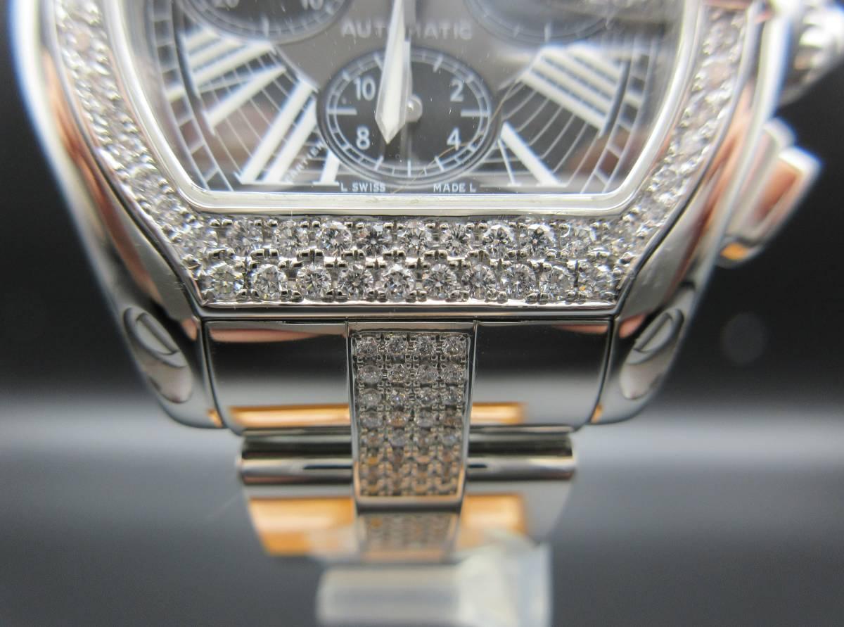 Cartier カルティエ ロードスター クロノグラフ LM ベゼルアフターダイヤ加工します カスタム W62041V3 SS 019X6 007 020 取付 サントス S_画像3