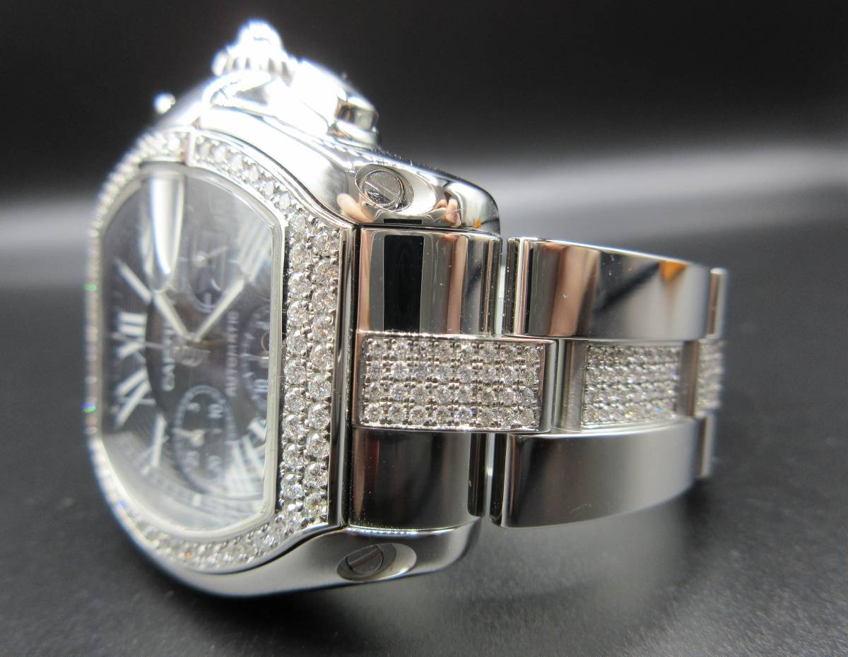 Cartier カルティエ ロードスター クロノグラフ LM ベゼルアフターダイヤ加工します カスタム W62041V3 SS 019X6 007 020 取付 サントス L_一つ一つ丁寧にずれなく留めていきます。