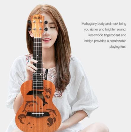 21インチ プロサペリイルカパターン ウクレレギター マホガニーネック 繊細なチューニングペグ 4弦の木製ウクレレ ギフト_画像1