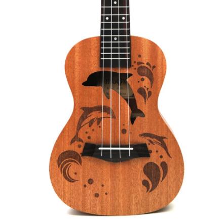 21インチ プロサペリイルカパターン ウクレレギター マホガニーネック 繊細なチューニングペグ 4弦の木製ウクレレ ギフト_画像4