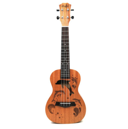 21インチ プロサペリイルカパターン ウクレレギター マホガニーネック 繊細なチューニングペグ 4弦の木製ウクレレ ギフト_画像2