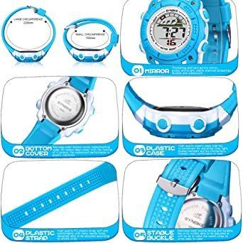 ブラック 子供腕時計防水led デジタル表示ライト付き アラーム ストップウォッチ機能 12/24時刻切替え多機能スポーツ腕時計_画像2