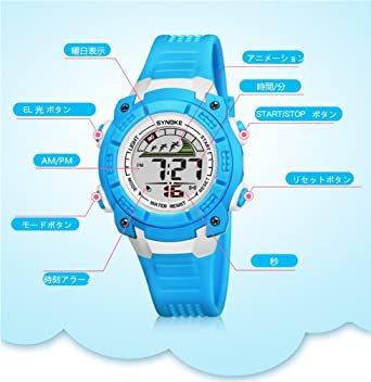 ブラック 子供腕時計防水led デジタル表示ライト付き アラーム ストップウォッチ機能 12/24時刻切替え多機能スポーツ腕時計_画像3