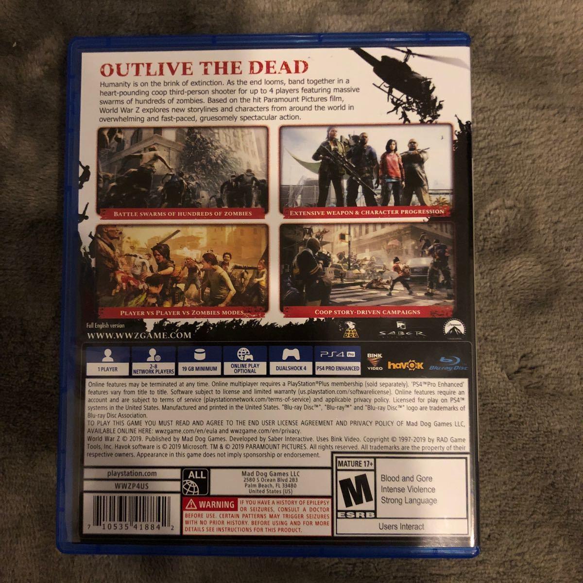 PS4ソフト ワールドウォーZ 海外北米版