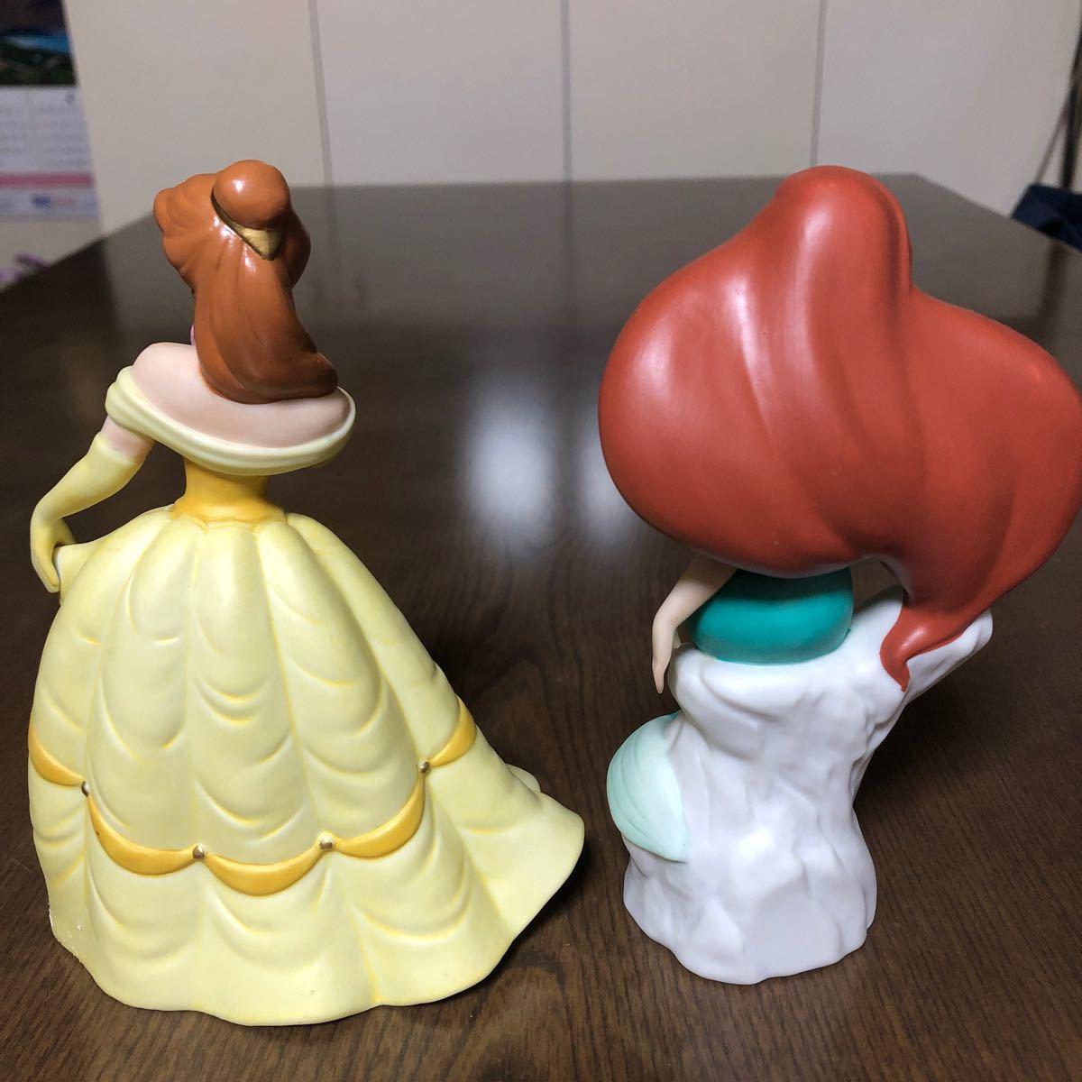 ディズニー 美女と野獣ベル リトルマーメイドアリエル 陶器製2点