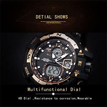 腕時計 メンズ SMAEL腕時計 メンズウォッチ 防水 スポーツウォッチ アナログ表示 デジタル 多機能 ミリタリー ライト時計_画像5