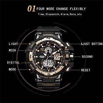 腕時計 メンズ SMAEL腕時計 メンズウォッチ 防水 スポーツウォッチ アナログ表示 デジタル 多機能 ミリタリー ライト時計_画像2