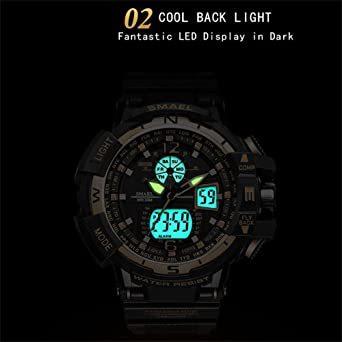 腕時計 メンズ SMAEL腕時計 メンズウォッチ 防水 スポーツウォッチ アナログ表示 デジタル 多機能 ミリタリー ライト時計_画像3