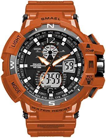 腕時計 メンズ SMAEL腕時計 メンズウォッチ 防水 スポーツウォッチ アナログ表示 デジタル 多機能 ミリタリー ライト時計_画像1