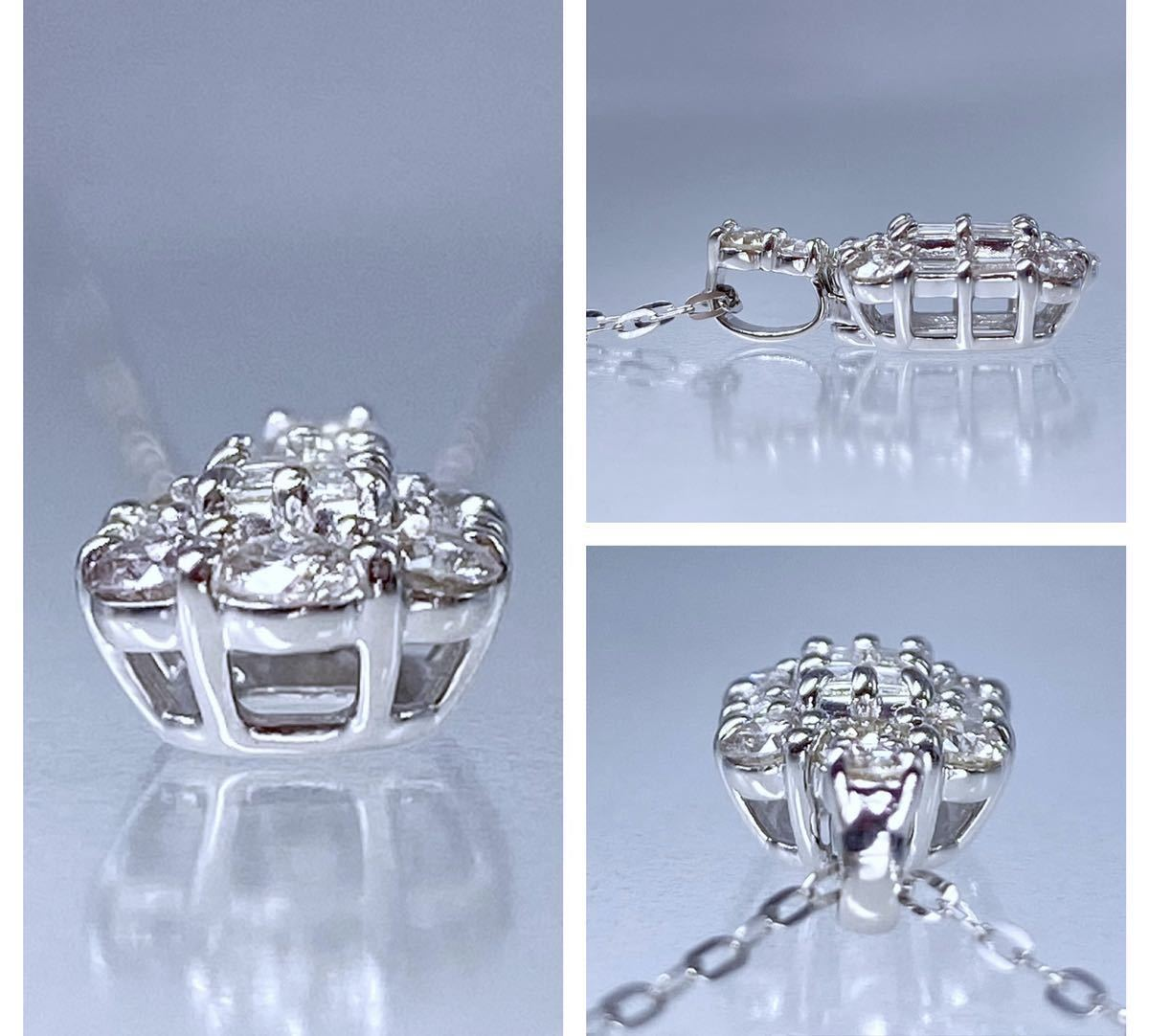 PT850 PT900 天然 ダイヤモンド 0.50ct ダイヤ ネックレス_画像3
