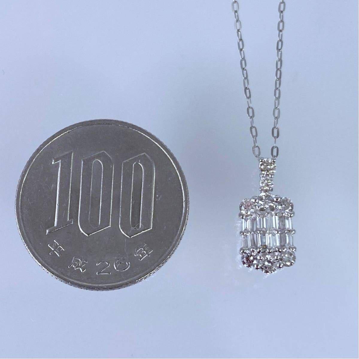 PT850 PT900 天然 ダイヤモンド 0.50ct ダイヤ ネックレス_画像9