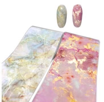 RT329:1ロール 大理石 パターン ネイルホイル 和風 ピンク ブルー ホイルネイル アート デカール マニキュア4センチ* 100メートル_画像2