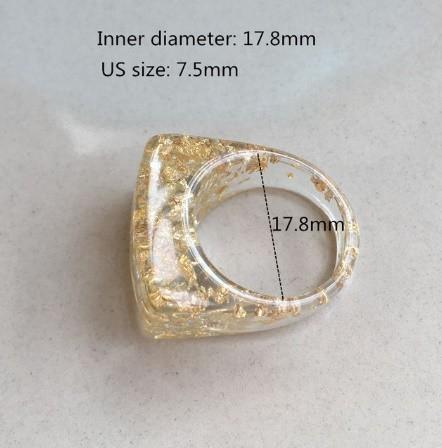 RT179:USサイズ6 1/2~8 金箔 アクリル 樹脂 リング 女性 男性 ファッション キラキラ リング 指輪 パーティー 誕生日 ジュエリー ギフト_デザイン6