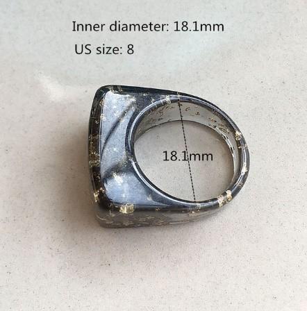 RT179:USサイズ6 1/2~8 金箔 アクリル 樹脂 リング 女性 男性 ファッション キラキラ リング 指輪 パーティー 誕生日 ジュエリー ギフト_デザイン4
