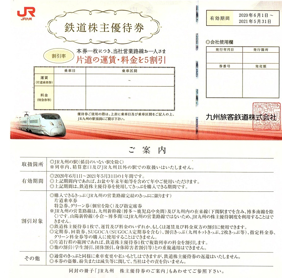 JR九州 株主優待券 50%割引券 10枚set 2022年5月末迄有効(延長)_画像1