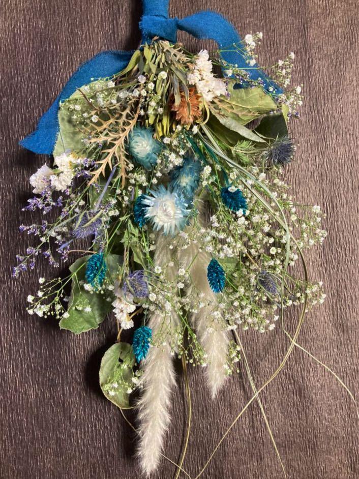 Handmade◆ドライフラワー◆スワッグ◆壁飾り◆ユーカリ*かすみ草 turquoise Blue botanical swag◆◆55㎝***_画像1