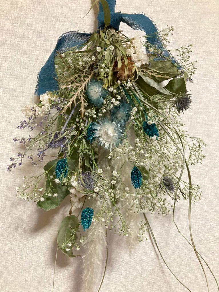 Handmade◆ドライフラワー◆スワッグ◆壁飾り◆ユーカリ*かすみ草 turquoise Blue botanical swag◆◆55㎝***_画像2