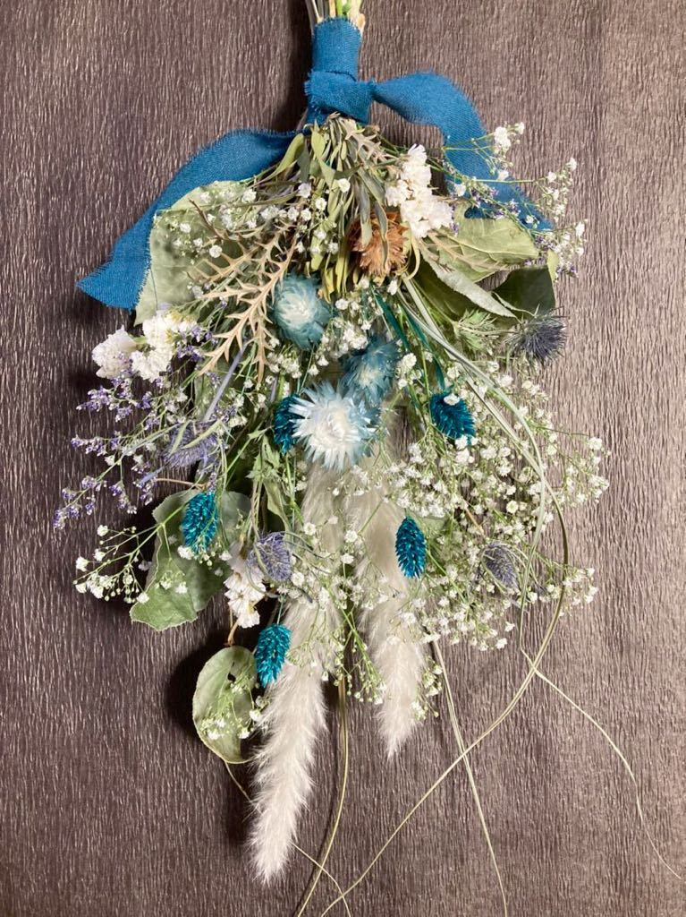 Handmade◆ドライフラワー◆スワッグ◆壁飾り◆ユーカリ*かすみ草 turquoise Blue botanical swag◆◆55㎝***_画像3