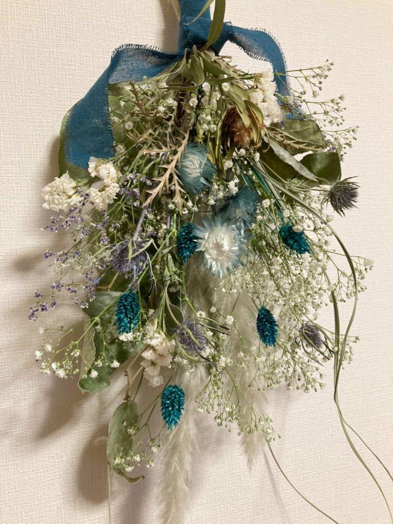 Handmade◆ドライフラワー◆スワッグ◆壁飾り◆ユーカリ*かすみ草 turquoise Blue botanical swag◆◆55㎝***_画像4