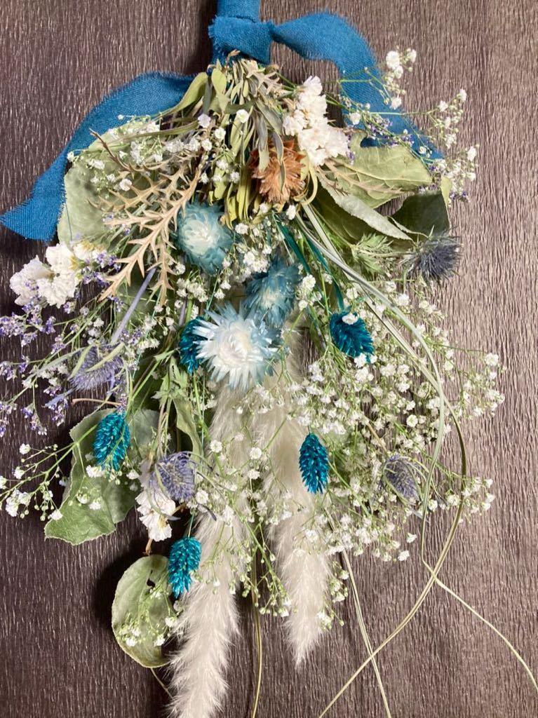 Handmade◆ドライフラワー◆スワッグ◆壁飾り◆ユーカリ*かすみ草 turquoise Blue botanical swag◆◆55㎝***_画像5