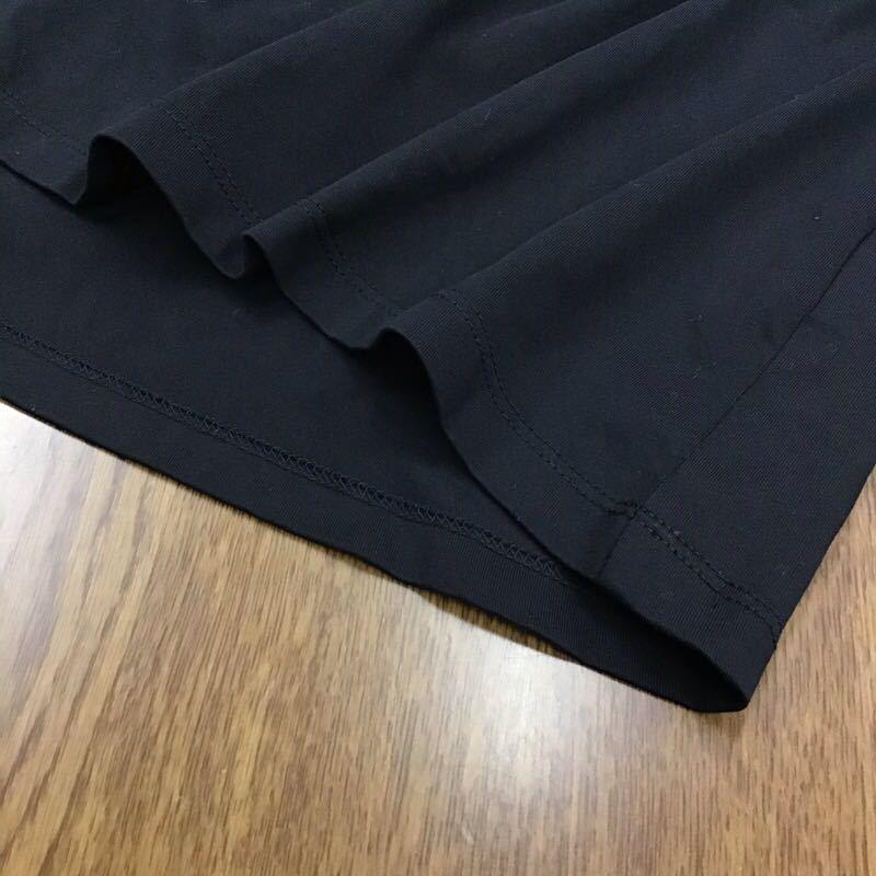 niko and... デザインシャツ Mサイズ ブラック 7分袖 袖口シャーリングゴム 無地 シンプル 黒色 ブランド古着 ニコアンド 送料無料 タ067