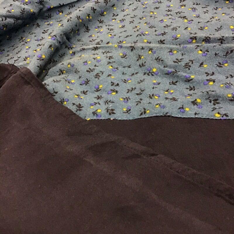 【タ112】niko and... 花柄ワンピース ブルー 長袖 膝丈 ゆったり レーヨン100% ナチュラル ブランド古着 ニコアンド 青色 送料無料