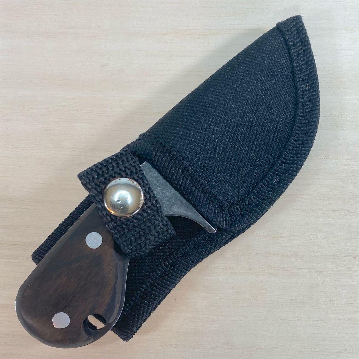 サバイバルナイフ ケース付き アウトドアナイフ  シースナイフ フルタング ウッドハンドル 切りつけナイフ