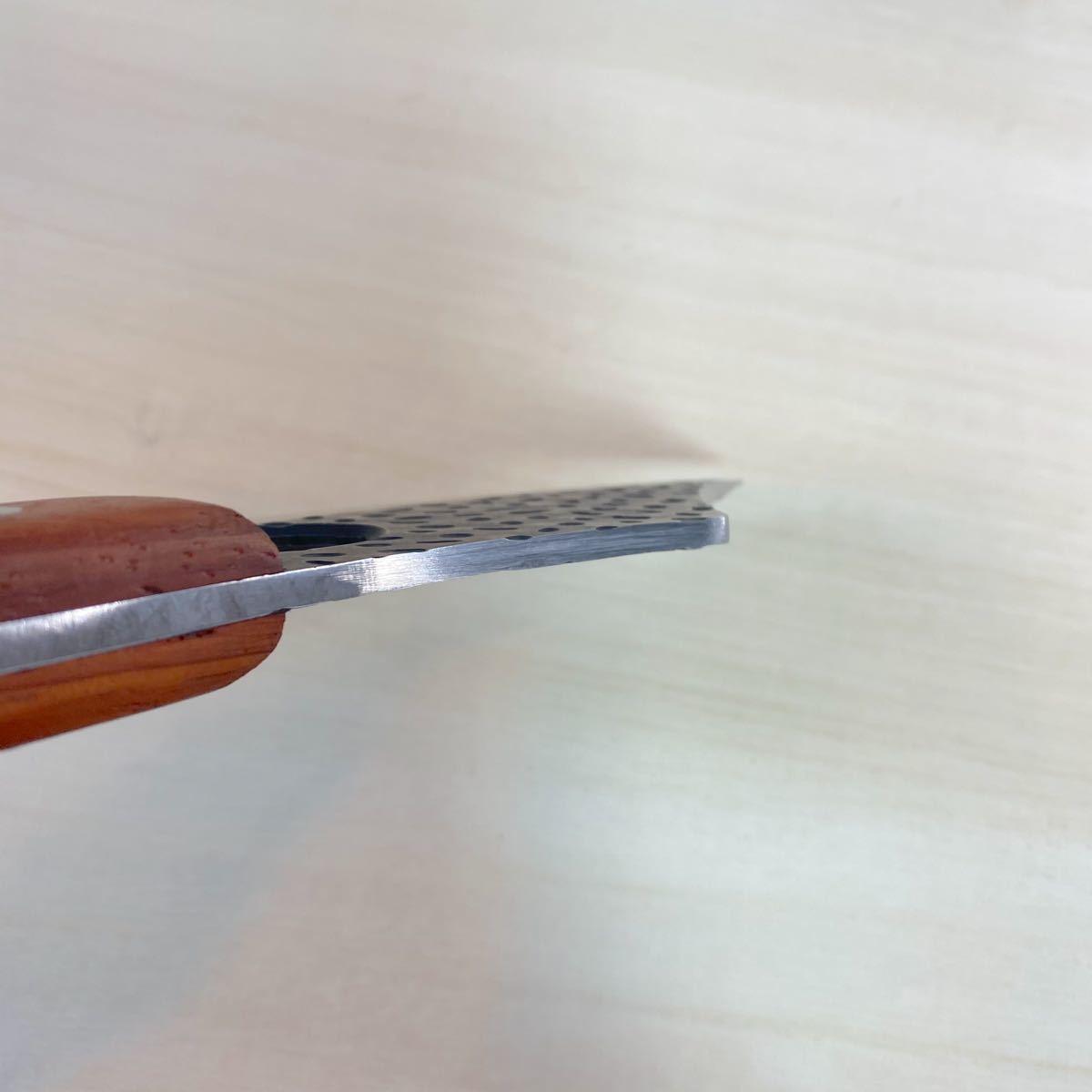 シースナイフ レザーケース付き! チョッピングナイフ アウトドアナイフ ウッドハンドル ハンティングナイフ