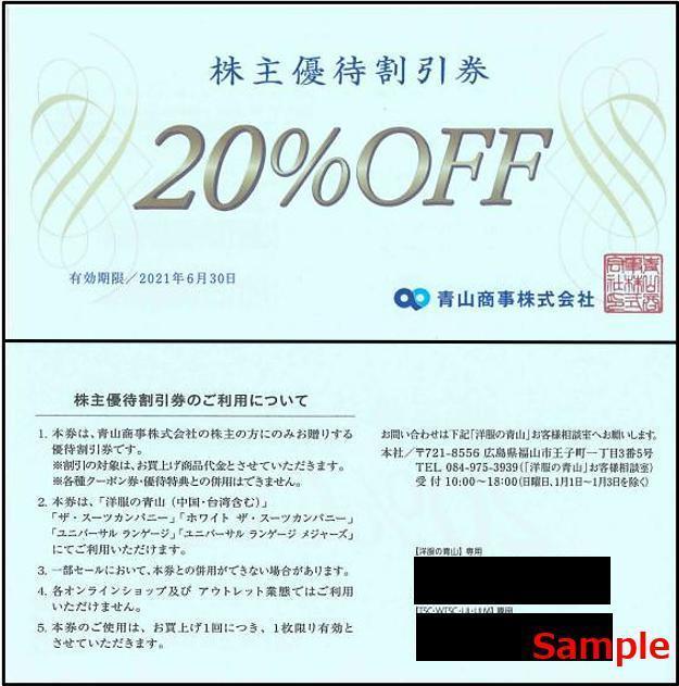 ◇06-01◇青山商事 洋服の青山 スーツスーツ 株主優待券(20%OFF) 1枚◇_画像1
