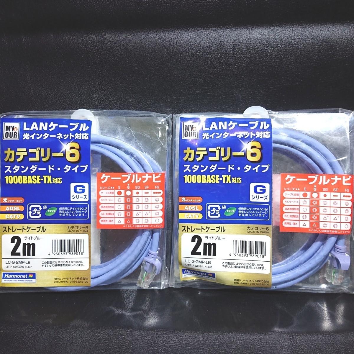 LANケーブル 光インターネット対応カテゴリー6 スタンダード・タイプ 2個セット