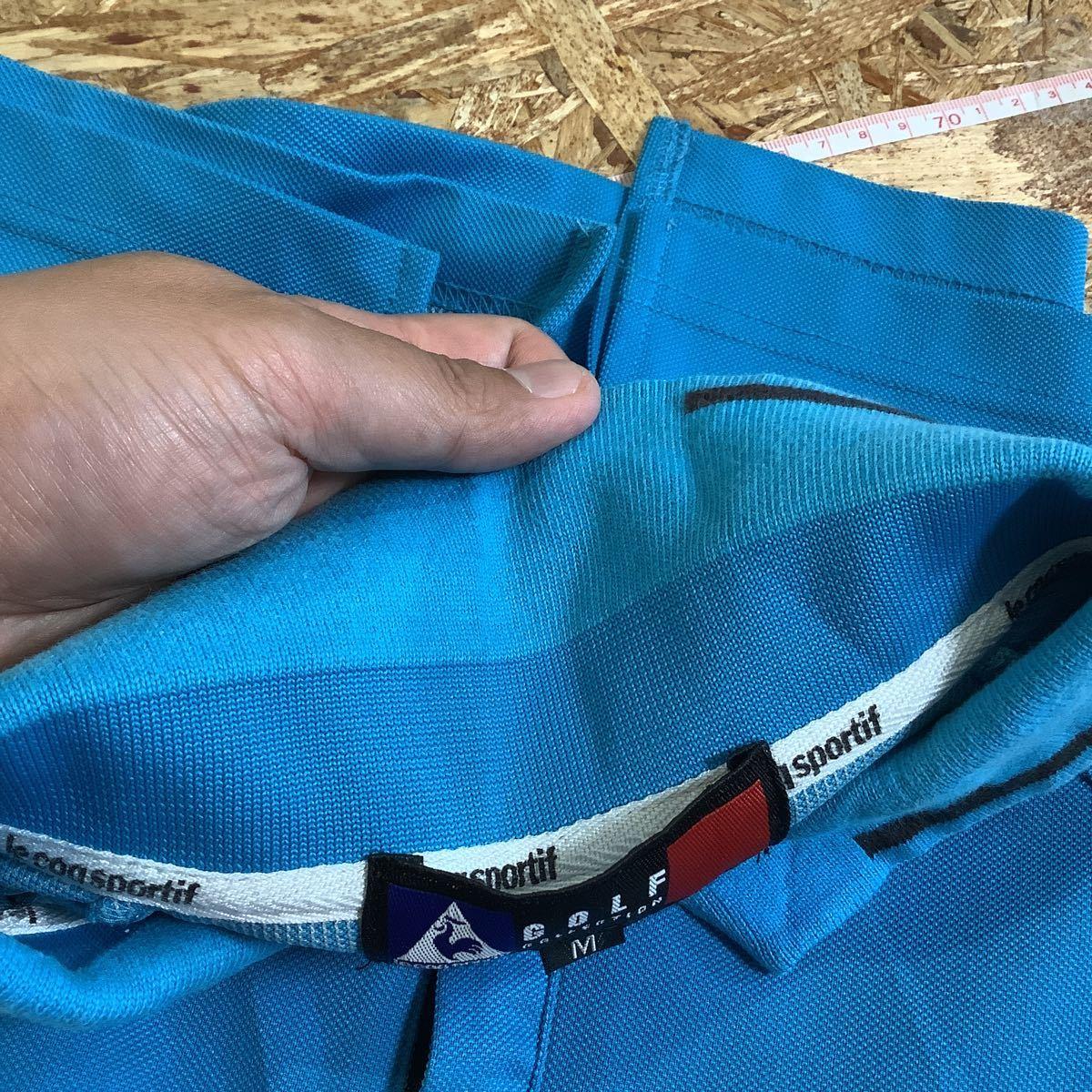 け713 ルコックゴルフ le coq sportif GOLF COLLECTION ハーフジップ 半袖ポロシャツ M ライトブルー_画像7