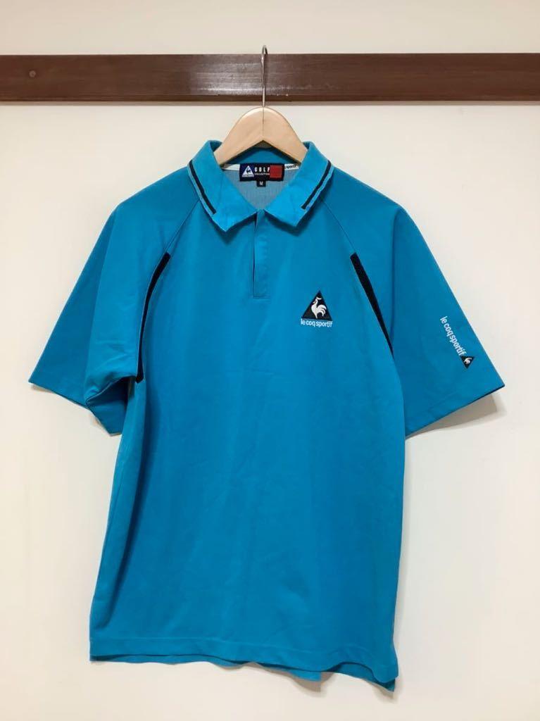 け713 ルコックゴルフ le coq sportif GOLF COLLECTION ハーフジップ 半袖ポロシャツ M ライトブルー_画像1
