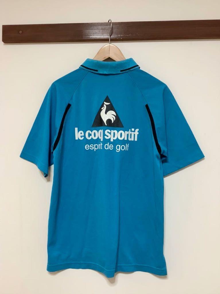 け713 ルコックゴルフ le coq sportif GOLF COLLECTION ハーフジップ 半袖ポロシャツ M ライトブルー_画像2