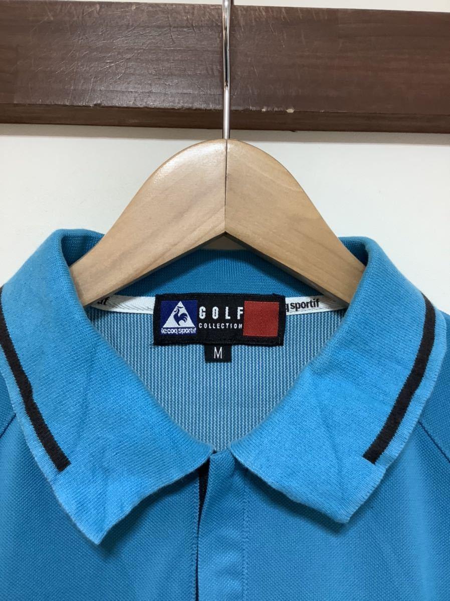 け713 ルコックゴルフ le coq sportif GOLF COLLECTION ハーフジップ 半袖ポロシャツ M ライトブルー_画像3