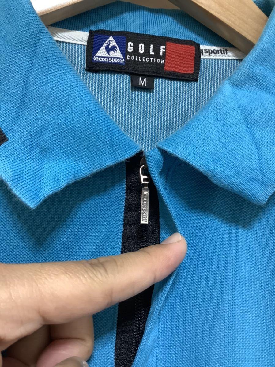 け713 ルコックゴルフ le coq sportif GOLF COLLECTION ハーフジップ 半袖ポロシャツ M ライトブルー_画像4