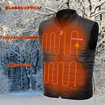 ジッパー留め M 電熱ベスト バイクジャケット 作業ジャケットコート ヒーターベスト 防寒 秋冬用 男女兼用 USB加熱 撥水 _画像5