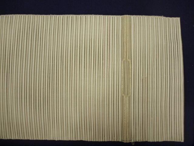 新品 1579 夏帯 大幅値下げ お仕立て上がり 正絹絽綴れ八寸名古屋帯 アイボリー_画像2