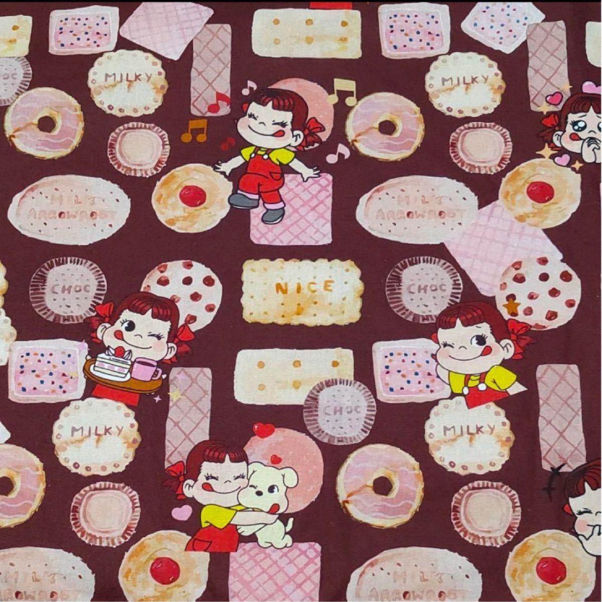 ペコちゃん 綿100%      シーチング  生地 ドーナツ、ケーキ、ビスケット柄  ハンドメイド
