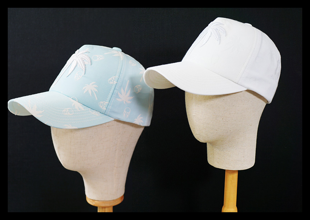 定価1.6万 ルシアンペラフィネ lucien pellat-finet 限定コラボ 太陽光で色が変わる ベースボールキャップ 帽子 スカル&パームツリー 刺繍