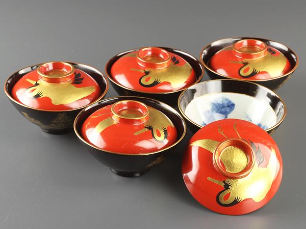 【琴》送料無料 古美術品 鶴松図蓋茶碗五客 WD698