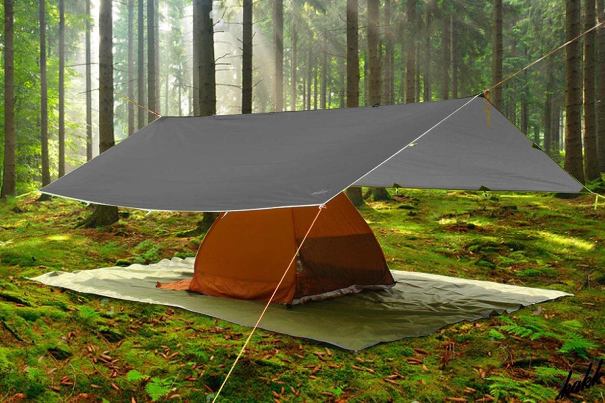 【シルバーコーティング】 タープテント グレー 耐水圧3000mm 遮光遮熱 ファミリー コンパクト キャンプ BBQ サンシェード ツーリング