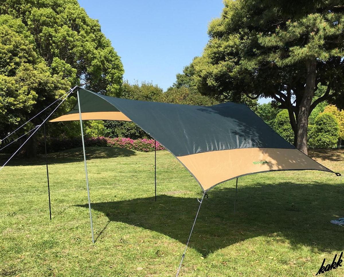 【自由自在のヘキサゴンタープ】 3人用 サンシェード UVカット コンパクト収納 420×320cm キャンプ BBQ アウトドア ツーリング