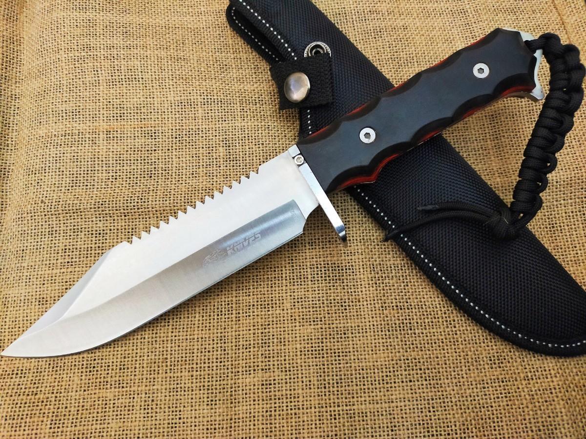 S032A★SR KNIVES(エスアール ナイフ) フルタング・ハンティング シース 5mm厚ブレード 積層ウッド パラコード付